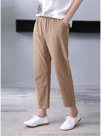 Pockets Shirred Plus Size midi Casual Plain Pants