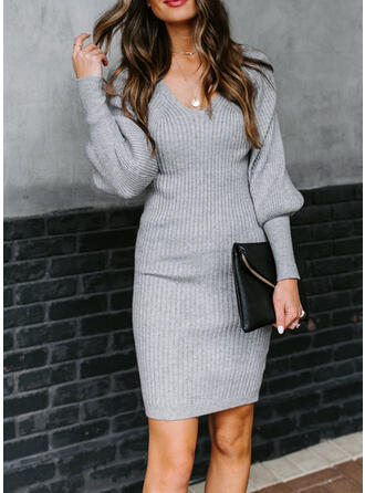 Solid Long Sleeves/Lantern Sleeve Bodycon Knee Length Casual/Elegant Sweater Dresses