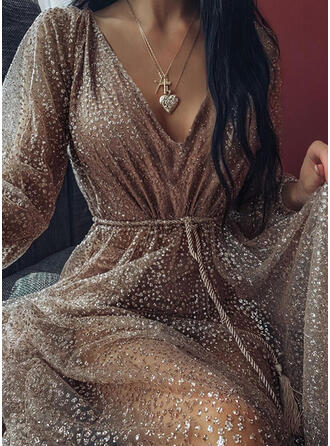 Sequins Long Sleeves A-line Knee Length Sexy/Party Skater Dresses