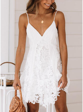 Lace/Solid Sleeveless Shift Above Knee Sexy/Casual/Vacation Dresses