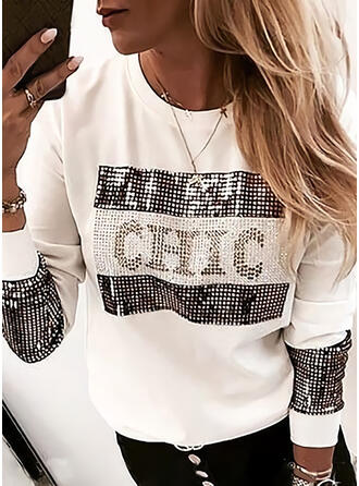 Print Sequins Figure Round Neck Long Sleeves Sweatshirt