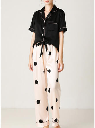 Polyester Print PolkaDot Short Sleeves V Neck Pyjama Set