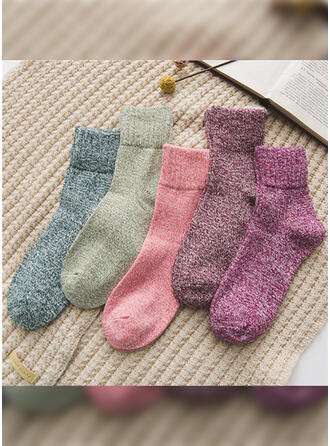 Solid Color Warm/Breathable/Comfortable/Crew Socks Socks (Set of 5 pairs)