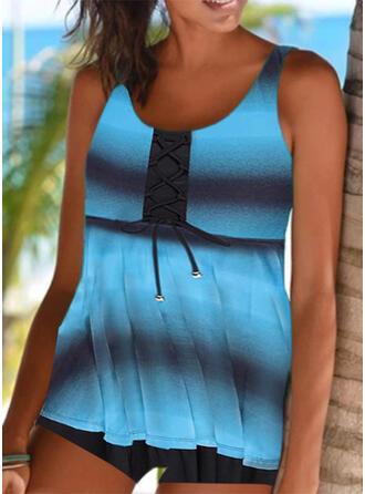 Stripe Splice color Strap Round Neck Sports Casual Tankinis Swimsuits