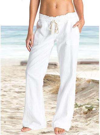 Pockets Shirred Long Boho Casual Elegant Skinny Plain Pants