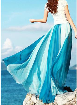 Chiffon Color Block Maxi A-Line Skirts