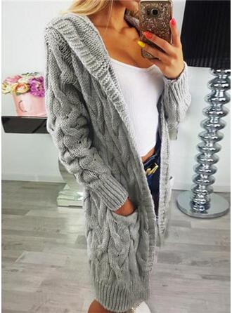 Polyester Acrylic Long Sleeves Plain Cardigans