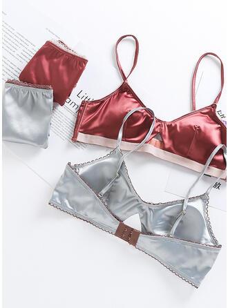 Satin Lace Plain Sexy Lingerie Set