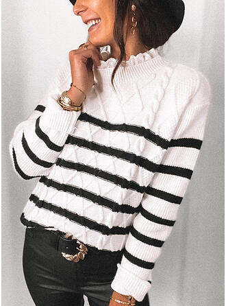 Striped Stand Collar Casual Sweaters