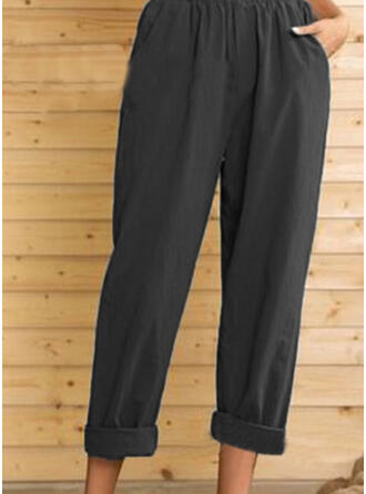 Shirred Plus Size midi Casual Elegant Pants