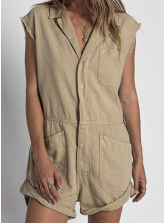 Solid Shirt collar Cap Sleeve Casual Romper