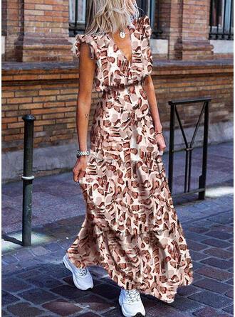 Print Cap Sleeve A-line Casual Maxi Dresses