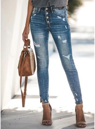 Pockets Ripped Long Elegant Sexy Denim & Jeans