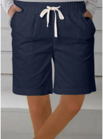 Solid Plus Size Above Knee Casual Sporty Shorts