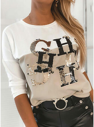 Color Block Sequins Figure Round Neck Long Sleeves Casual T-shirts