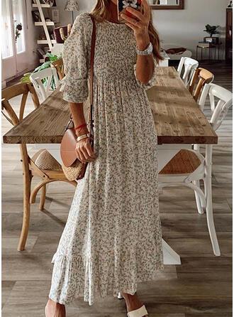 Print 1/2 Sleeves/Lantern Sleeve A-line Casual Maxi Dresses