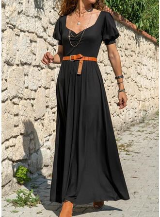 Solid Short Sleeves/Puff Sleeves A-line Little Black/Casual/Elegant Maxi Dresses