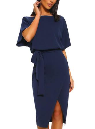 Solid Short Sleeves Bodycon Knee Length Casual/Elegant Dresses