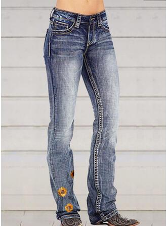 Floral Shirred Plus Size Long Elegant Sexy Skinny Denim & Jeans