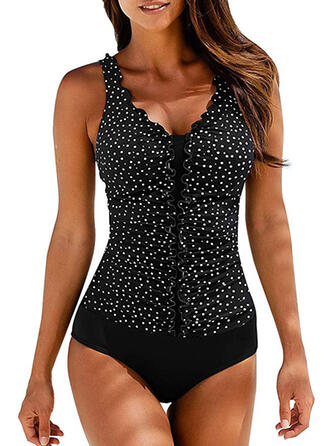 Dot Print Strap V-Neck Sexy One-piece Swimsuits