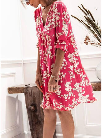 Print/Floral 3/4 Sleeves Shift Knee Length Casual/Elegant Dresses