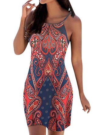 Print Sleeveless Sheath Above Knee Casual/Boho/Vacation Slip Dresses