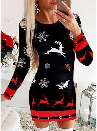 Animal Print Long Sleeves Bodycon Above Knee Christmas/Casual Dresses