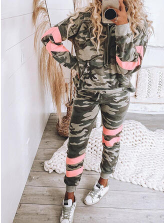 Patchwork Camouflage Drawstring Casual Sporty Suits