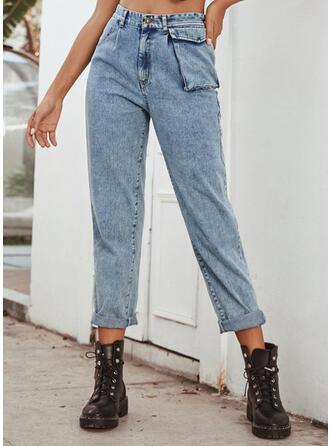 Solid Pockets Long Casual Plain Denim & Jeans