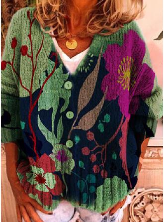 Print Floral V-Neck Casual Cardigan