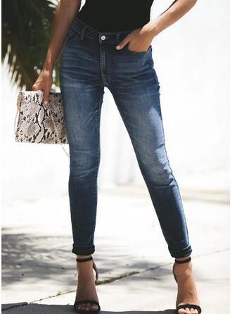 Shirred Plus Size Sexy Vintage Denim & Jeans