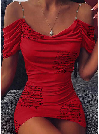 Print Short Sleeves/Cold Shoulder Sleeve Bodycon Above Knee Casual Dresses