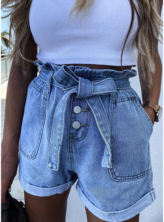 Pockets Shirred Above Knee Casual Sexy Solid Denim Shorts