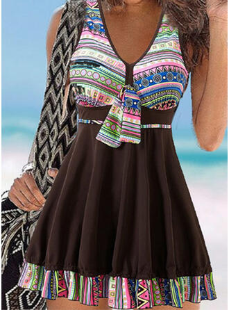 Print Splice color Bowknot Strap V-Neck Vintage Fresh Swimdresses Swimsuits