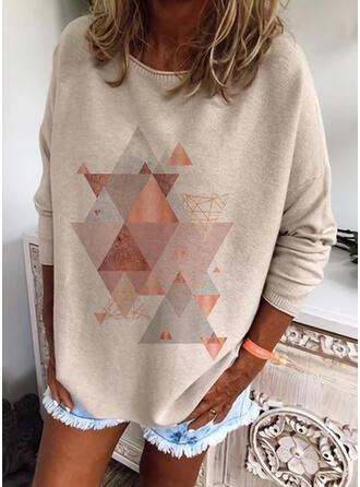 Geometric Print Round Neck Casual Sweaters