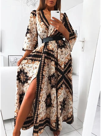 Print 3/4 Sleeves A-line Vintage/Casual/Vacation Maxi Dresses