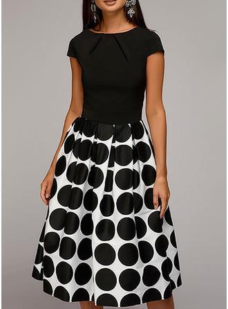 PolkaDot A-line Knee Length Vintage/Party/Elegant Dresses