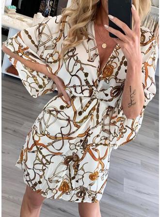 Print 3/4 Sleeves/Batwing Sleeves Sheath Above Knee Vintage/Casual/Elegant Dresses