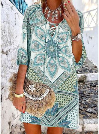 Print 1/2 Sleeves Shift Above Knee Casual/Boho/Vacation Dresses