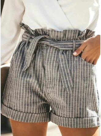 Striped Pockets Shirred Plus Size Above Knee Casual Elegant Shorts