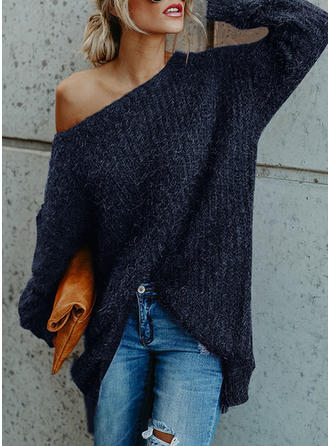 Solid One Shoulder Casual Sweater Dress