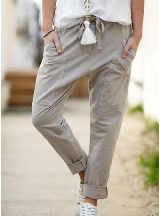 Pockets Plus Size Drawstring Long Casual Solid Pants