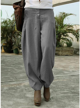 Solid Pockets Shirred Plus Size Long Casual Tribal Plain Pants