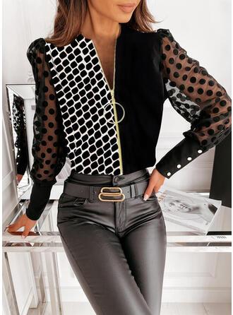 Print Color Block PolkaDot V-Neck Puff Sleeves Long Sleeves Button Up Elegant Blouses