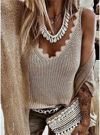 Solid V-Neck Knit Tops