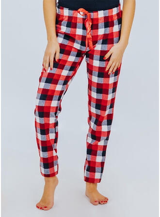 Plaid Drawstring Long Casual Skinny Pants