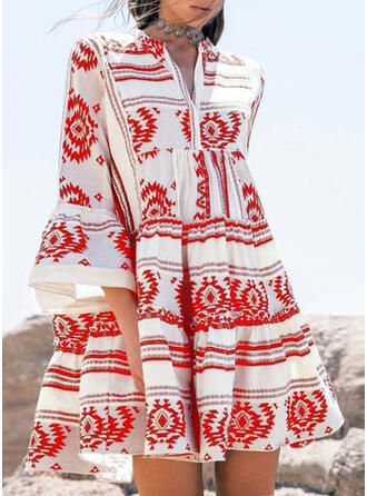 Print 3/4 Sleeves/Flare Sleeves A-line Above Knee Casual/Boho/Vacation Dresses
