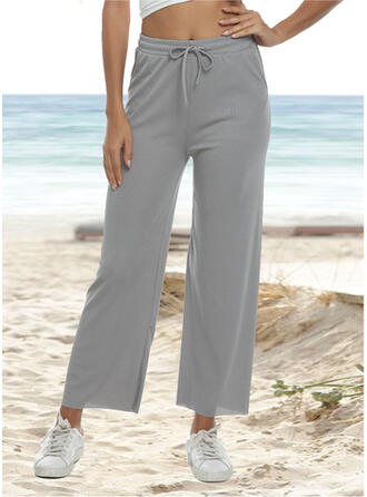 Pockets Shirred Plus Size midi Casual Solid Sporty Plain Pants