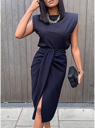 Solid Sleeveless Bodycon Knee Length Casual/Elegant Pencil Dresses