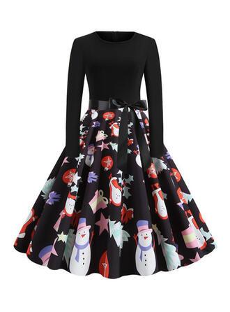 Print Long Sleeves A-line Knee Length Vintage/Christmas/Casual/Party/Elegant Dresses